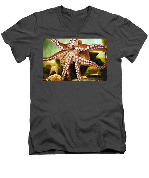 Red Octopus Men's V-Neck T-Shirt by Marilyn Hunt