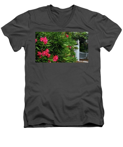 Men's V-Neck T-Shirt featuring the photograph Red Oleander Arbor by Marie Hicks
