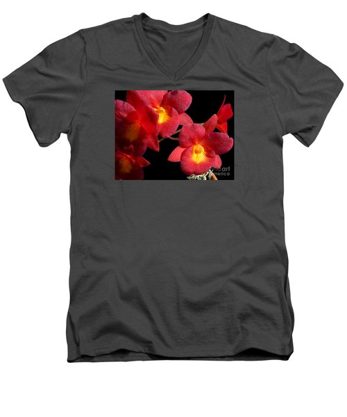 Men's V-Neck T-Shirt featuring the photograph Red Orchids by Merton Allen
