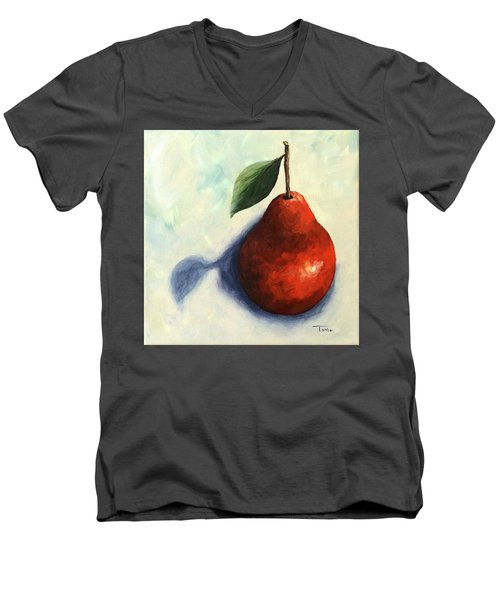Red Pear In The Spotlight Men's V-Neck T-Shirt