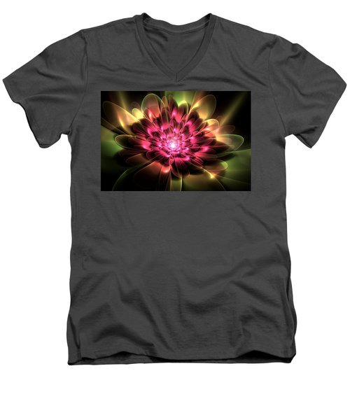 Red Peony Men's V-Neck T-Shirt by Svetlana Nikolova