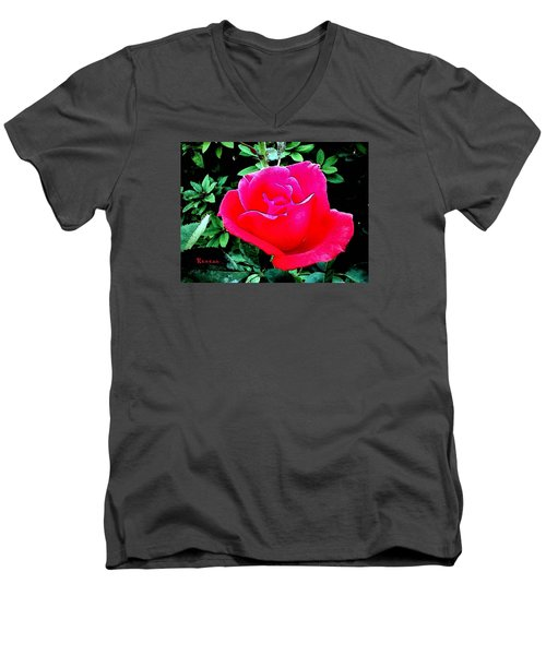 Men's V-Neck T-Shirt featuring the photograph Red-pink Rose by Sadie Reneau