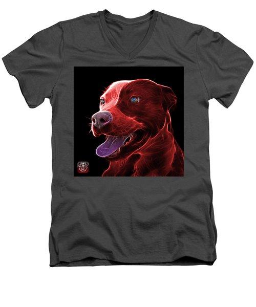 Red Pit Bull Fractal Pop Art - 7773 - F - Bb Men's V-Neck T-Shirt by James Ahn
