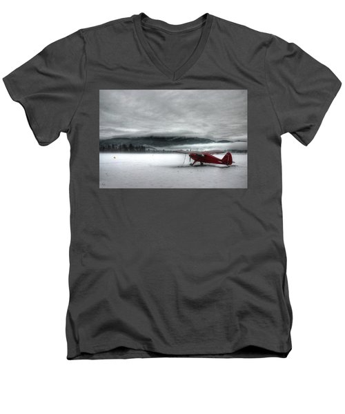 Red Plane In A Monochrome World Men's V-Neck T-Shirt