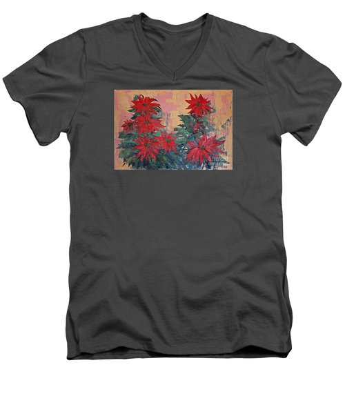 Red Poinsettias By George Wood Men's V-Neck T-Shirt