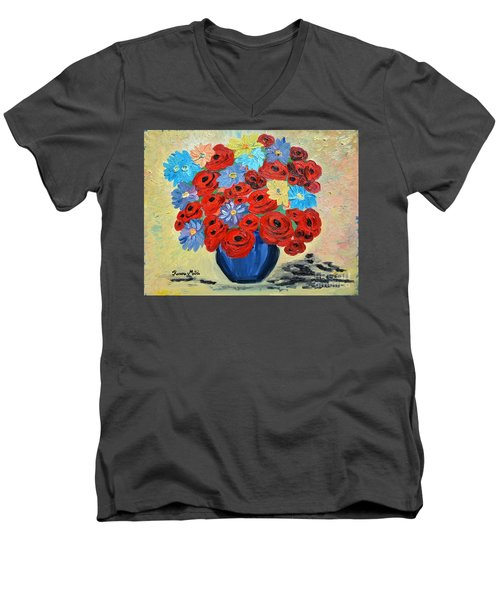 Men's V-Neck T-Shirt featuring the painting Red Poppies And All Kinds Of Daisies  by Ramona Matei