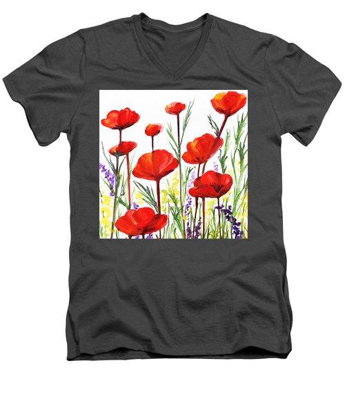 Red Poppies Art By Irina Sztukowski Men's V-Neck T-Shirt by Irina Sztukowski