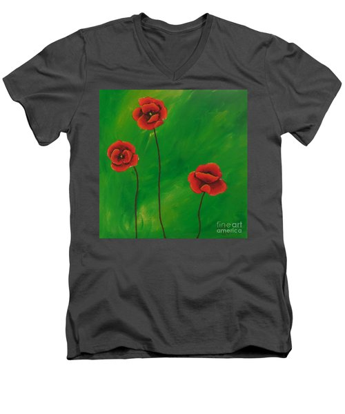 Red Poppies Men's V-Neck T-Shirt