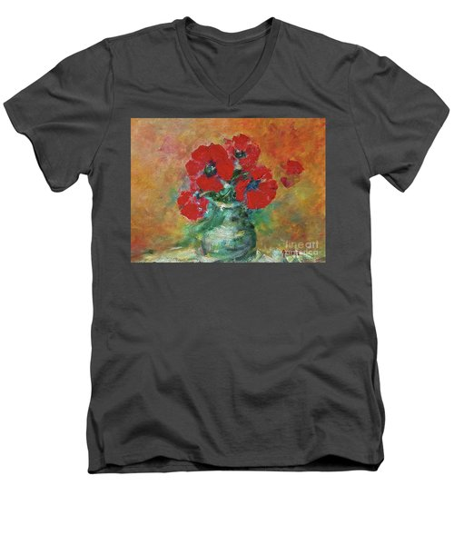 Red Poppies In A Vase Men's V-Neck T-Shirt