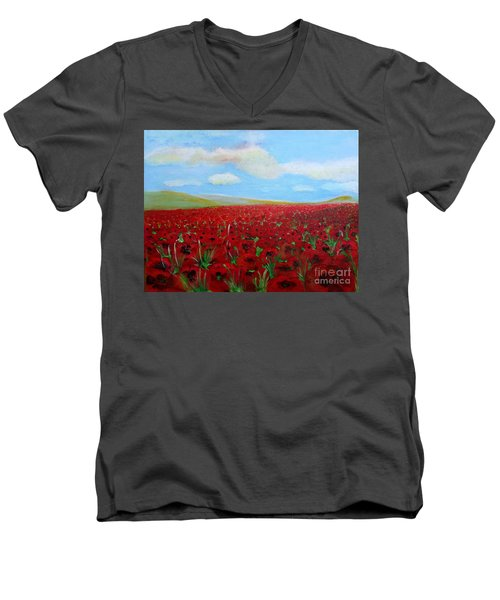 Red Poppies In Remembrance Men's V-Neck T-Shirt