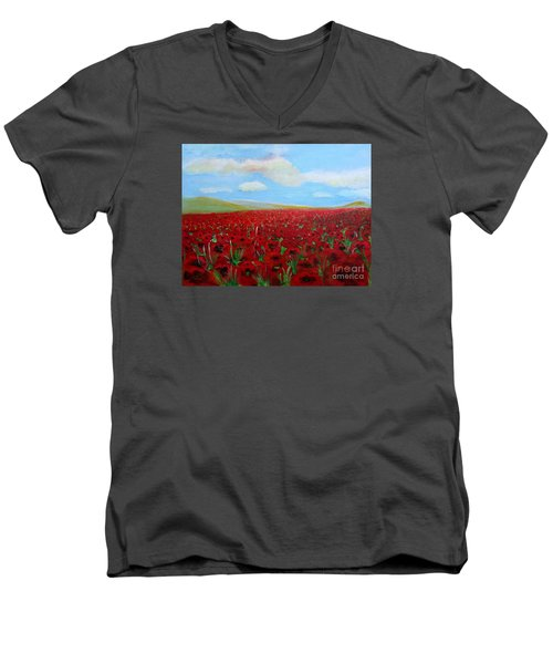 Men's V-Neck T-Shirt featuring the painting Red Poppies In Remembrance by Karen Jane Jones