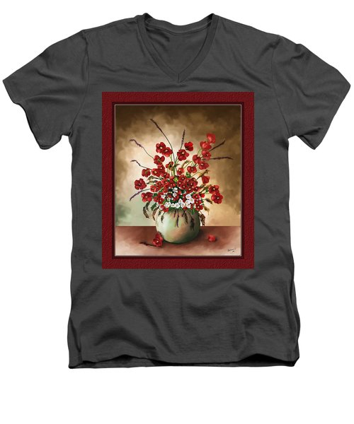 Men's V-Neck T-Shirt featuring the digital art Red Poppies by Susan Kinney