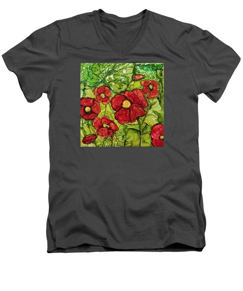 Red Poppies Men's V-Neck T-Shirt by Suzanne Canner