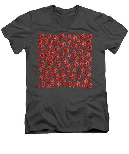 Red Poppies Transparent  Men's V-Neck T-Shirt