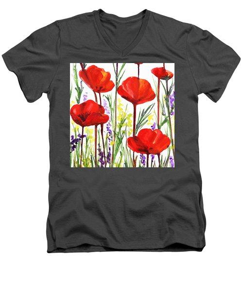 Red Poppies Watercolor By Irina Sztukowski Men's V-Neck T-Shirt by Irina Sztukowski