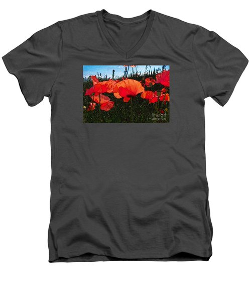 Men's V-Neck T-Shirt featuring the photograph Red Poppy Flowers In Grassland by Jean Bernard Roussilhe