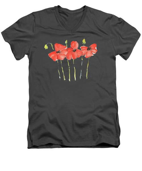 Red Poppy Play Men's V-Neck T-Shirt