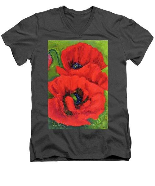 Red Poppy Seed Packet Men's V-Neck T-Shirt