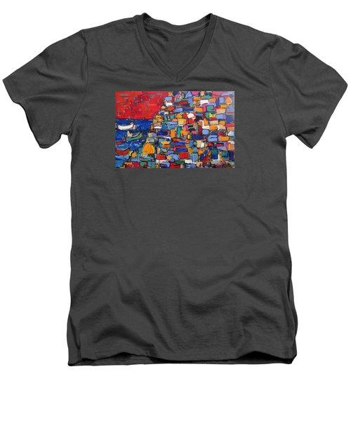Red Positano Italy Men's V-Neck T-Shirt