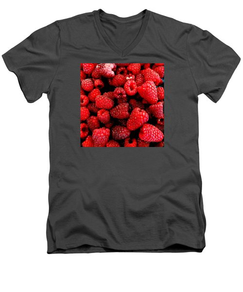Men's V-Neck T-Shirt featuring the photograph Red Raspberries by Nick Kloepping