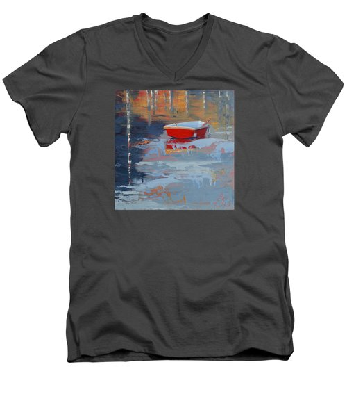 Red Reflections Men's V-Neck T-Shirt by Trina Teele