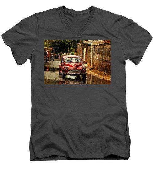 Red Retromobile. Morris Minor Men's V-Neck T-Shirt by Jenny Rainbow