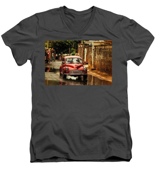 Red Retromobile. Morris Minor Men's V-Neck T-Shirt
