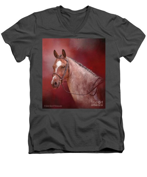 Red Roan Men's V-Neck T-Shirt by Kathy Russell