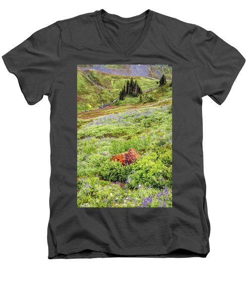Men's V-Neck T-Shirt featuring the photograph Red Rock Of Rainier by Pierre Leclerc Photography
