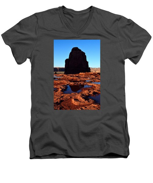 Red Rock Reflection At Sunset Men's V-Neck T-Shirt