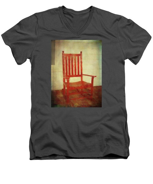 Men's V-Neck T-Shirt featuring the photograph Red Rocker by Bellesouth Studio