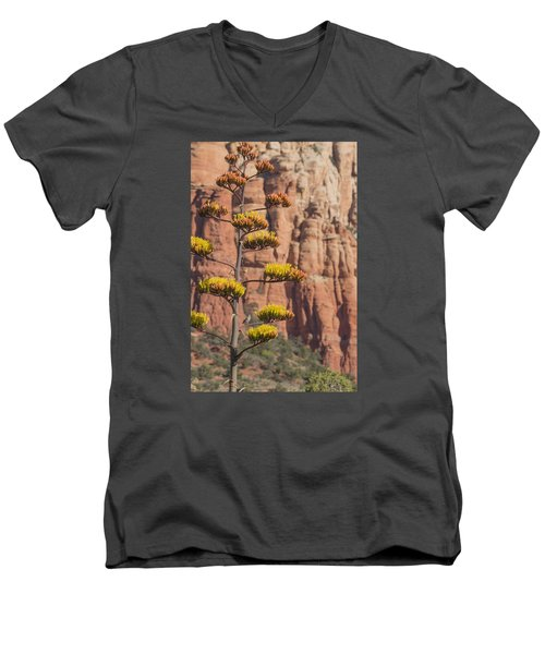 Men's V-Neck T-Shirt featuring the photograph Red Rocks And Century Plant by Laura Pratt