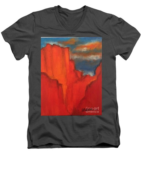 Red Rocks Men's V-Neck T-Shirt by Kim Nelson