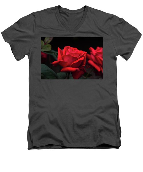 Men's V-Neck T-Shirt featuring the photograph Red Rose 014 by George Bostian