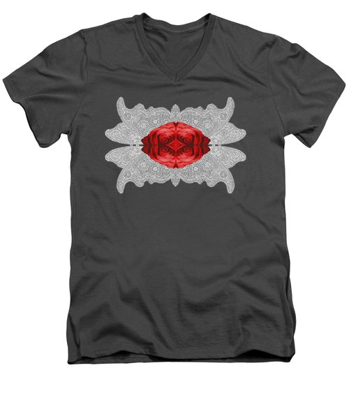 Red Rose Abstract On Digital Lace Men's V-Neck T-Shirt by Linda Phelps