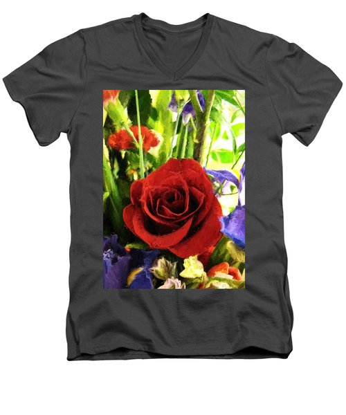 Red Rose And Flowers Men's V-Neck T-Shirt