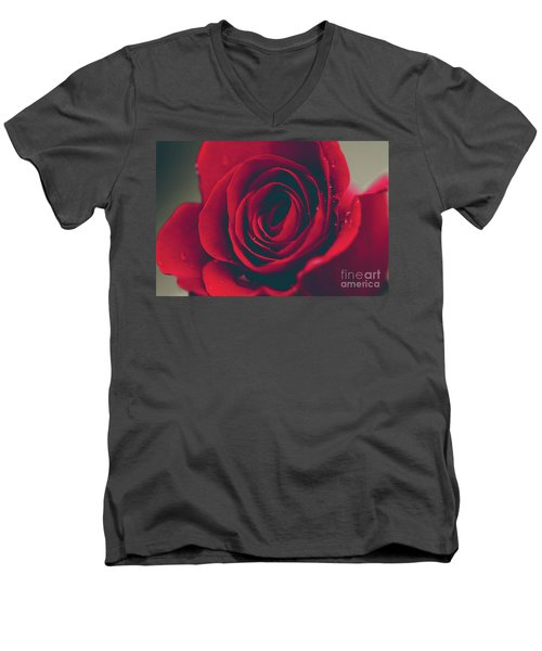 Men's V-Neck T-Shirt featuring the photograph Red Rose Floral Bliss by Sharon Mau