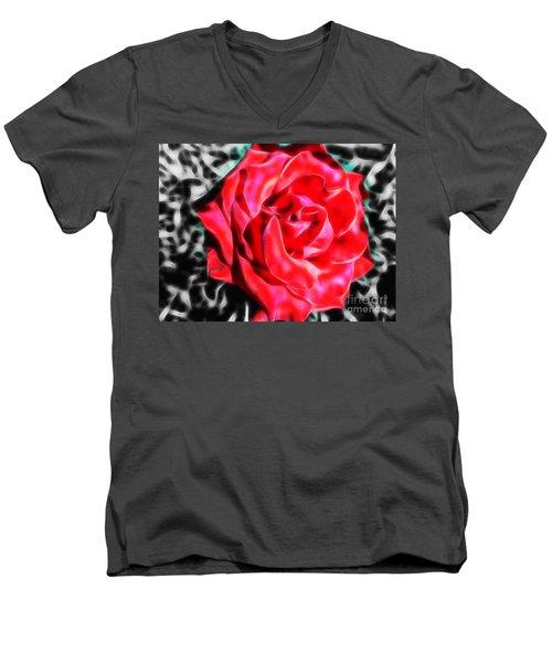 Red Rose Fractal Men's V-Neck T-Shirt