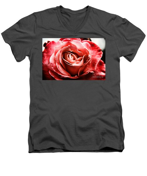 Men's V-Neck T-Shirt featuring the photograph Red Rose  by Mariola Bitner