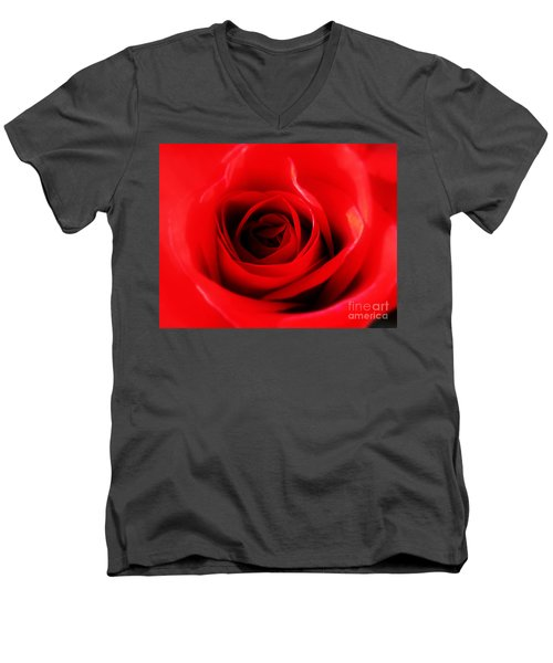 Men's V-Neck T-Shirt featuring the photograph Red Rose by Nina Ficur Feenan