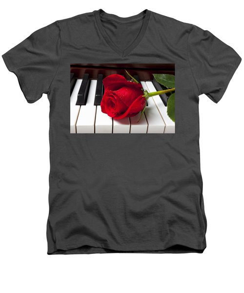 Red Rose On Piano Keys Men's V-Neck T-Shirt