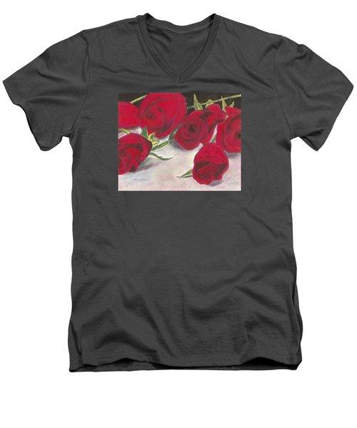 Red Rose Redux Men's V-Neck T-Shirt by Arlene Crafton
