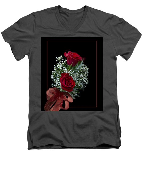 Red Roses For A Blue Lady Men's V-Neck T-Shirt by Judy Johnson