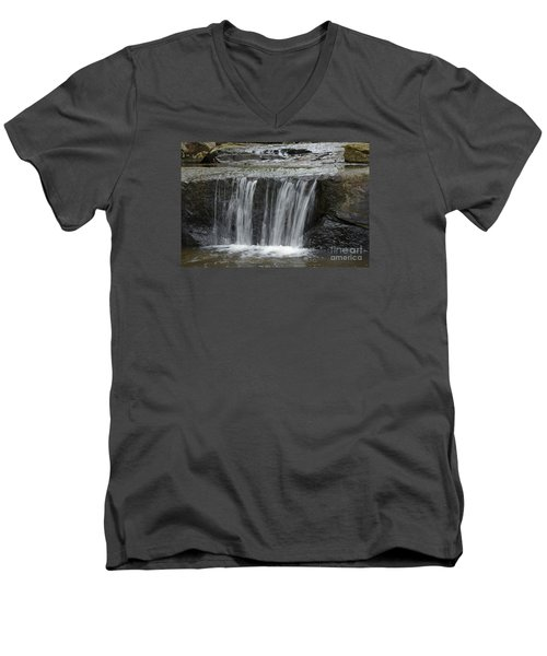 Red Run Waterfall Men's V-Neck T-Shirt by Randy Bodkins