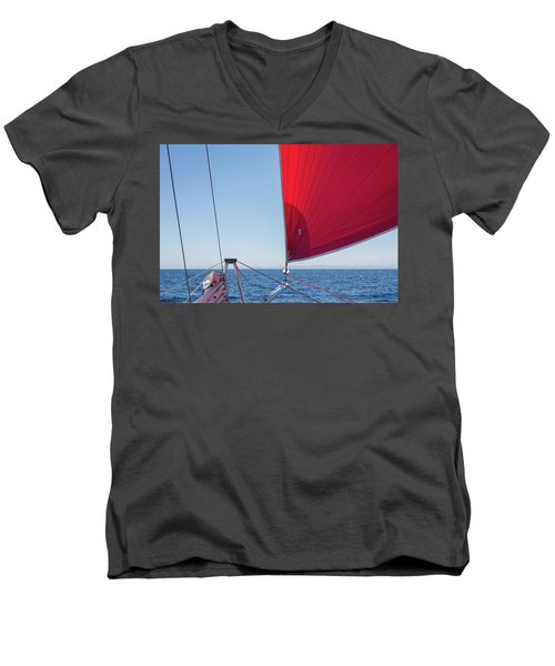 Men's V-Neck T-Shirt featuring the photograph Red Sail On A Catamaran by Clare Bambers
