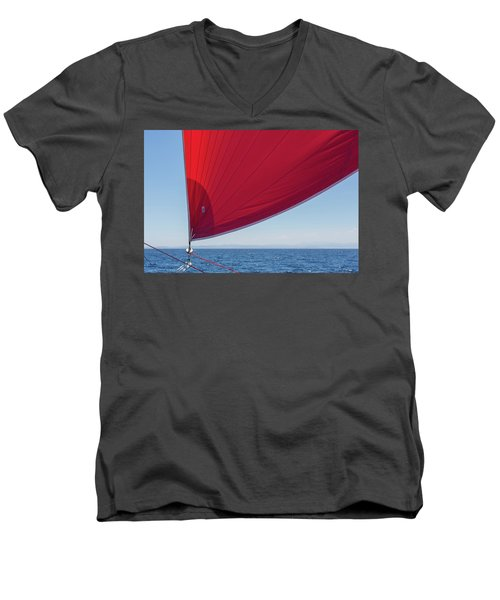 Men's V-Neck T-Shirt featuring the photograph Red Sail On A Catamaran 2 by Clare Bambers
