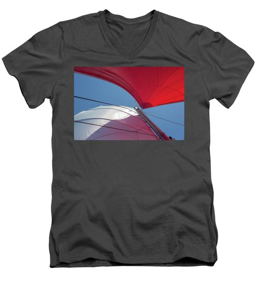 Men's V-Neck T-Shirt featuring the photograph Red Sail On A Catamaran 3 by Clare Bambers