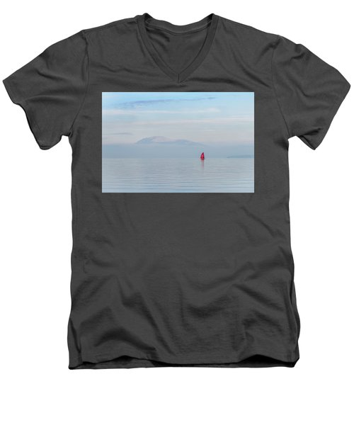 Red Sailboat On Lake Men's V-Neck T-Shirt