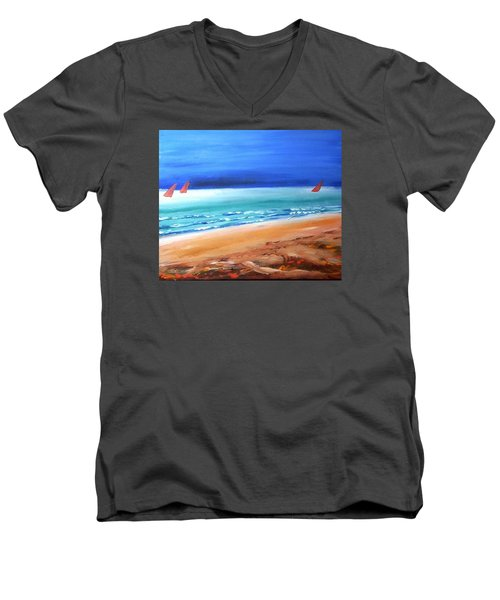 Men's V-Neck T-Shirt featuring the painting Red Sails by Winsome Gunning