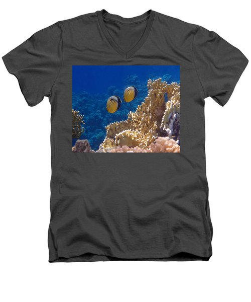 Red Sea Exquisite Butterflyfish  Men's V-Neck T-Shirt